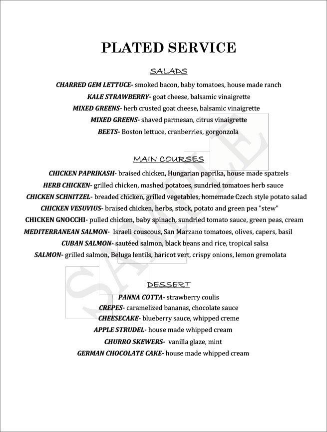 Blu Jam Cafe Sample Catering Dinner Menu