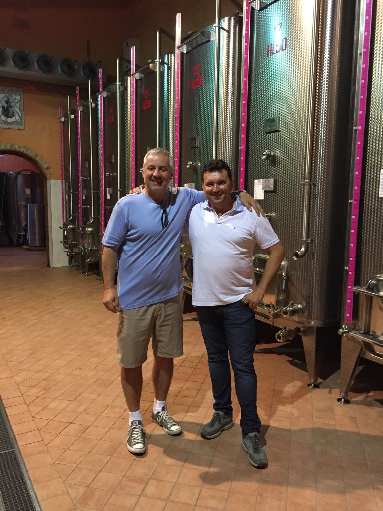 Kamil Majer with winemaker and owner Valter Fissore at Elvio Cogno Vineyard, Piemonte, Italy